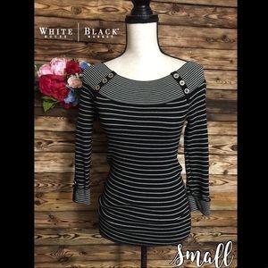 White House Black Market Black White Striped Top